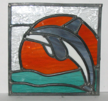 LEAPING DOLPHIN STAINED GLASS