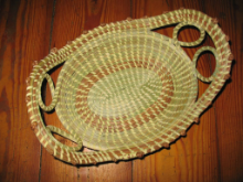 LARGE OVAL SWEETGRASS BREAD BASKET WITH LOVE KNOTS