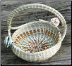 CROSSHANDLE SWEETGRASS BASKET WITH ROSES