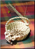 SMALL S-HANDLE SWEETGRASS BASKET W/POPCORN BERRIES & A SWEETGRASS ROSE